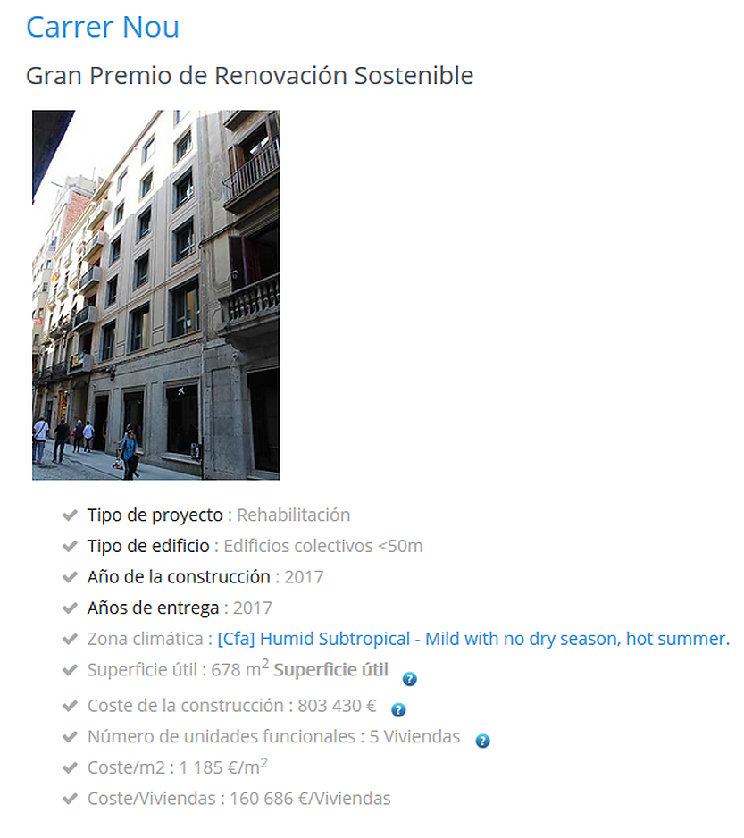 "Carrer Nou 2 building wins the "" Gran Premio de Renovación Sostenible"""